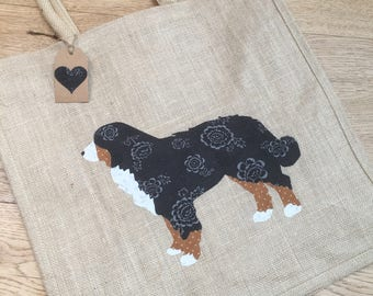 Luxury jute shopping bag featuring a Bernese Mountain Dog design, the perfect gift for Bernese Mountain Dog owners and dog lovers alike