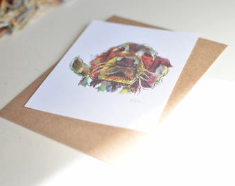 Golden Retriever Watercolor Print - Handmade Flat Watercolor Pet Card - Blank Card - Any Occasion