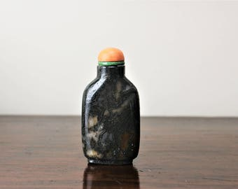 20% OFF SALE!! Beautiful 19th Century Chinese Antique Moss Agate Snuff Bottle