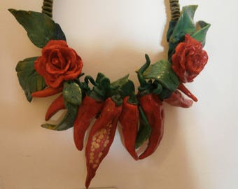 peppers and roses with polymer clay leaves