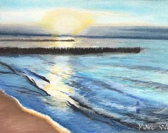 Der Tag am Meer geht zu Ende. Pastellmalerei . Maritimes Originalgemälde