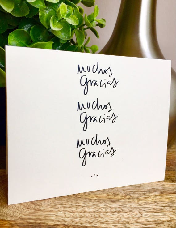 Gracias Card, thank you card set unique style, simple thank you card, handlettered stationery, muchos gracias card