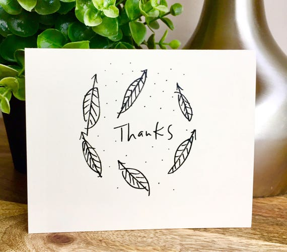 Set of 10 cards, thank you card set unique style, simple thank you card, handlettered stationery, You rock thanks, leaf card, nature cards
