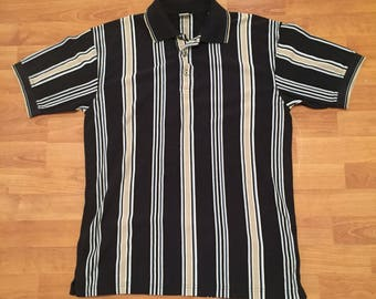 Vintage Target Vertical Stripes Casual Polo Shirt Black Tan Blue Mens M 97