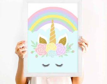 Unicorn Face Print, nursery decor,baby girl room decor,children wall art,nursery printable,kids room decor,baby poster, popsicle print