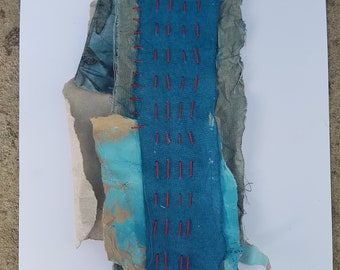 Mixed Media Collage with Stitching