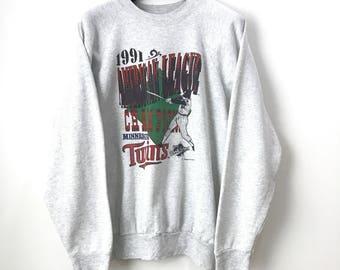 Vintage 1991 Minnesota Twins World Series Baseball Sweat Shirt XXL
