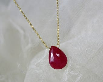Chain with ruby Briolette faceted pendant gold plated Silver925