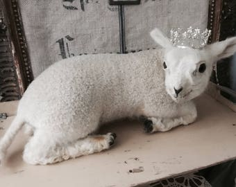 Vintage white lamb ,antique taxidermy,brocante ,rare