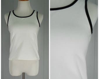 Vintage Womens 1990s White and Black Ringer Tank Top | Size S/M