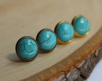 READY TO SHIP / Turquoise Earrings / Nickel Free Earrings / Hypoallergenic Earrings / Gold Earrings / Brass Earrings