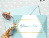 Baby Blue Thank You Card   Little Man Thank You Note   Fits A1 envelope   3.5 x 5   Printable Instant Download