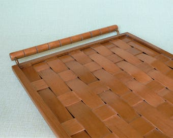 Wooden Wicker TRAY Vintage/ Wooden Tray with Handles/ Wood Natural Color / Vintage Home Decor/ Latvia, 1970s