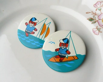 2 OLYMPIC PINS Vintage/ Set of 2 Badges/ Olympic Games in Tallinn 1980/ Water Sports, Sailing/ Collectible/ Ussr 1980 (01)