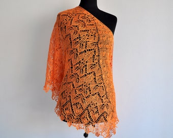 Linen Shawl, Knit Shawl, Summer Shawl, Orange Wrap, linen scarf, hand knit shawl, knitted shawl, Orange Shawl, lace Shawl