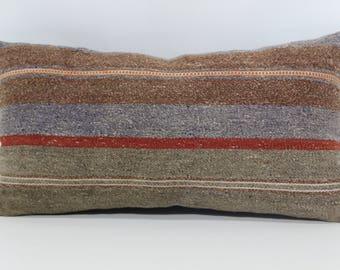 Turkish Kilim Pillow 10x20 Lumbar Kilim Pillow Sofa Pillow Naturel Kilim Pillow Boho Pillow Ethnic Pillow Bedding Pillow  SP2550-994