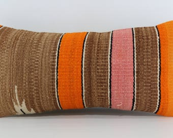 Handwoven Kilim Pillow Sofa Pillow Floor Pillow 12x24 Decorative Kilim Pillow Brown Orange Color Kilim Pillow Cushion Cover SP3060-896