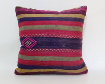 20x20 Striped Kilim Pillow Sofa Pillow Handwoven Kilim Pillow 20x20 Decorative Kilim Pillow Floor Pillow Multicolor Kilim Pillow SP5050-1956