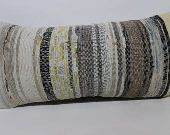 12x24 Lumbar Kilim Pillow Striped Kilim Pillow 12x24 Outdoor Kilim Pillow Handwoven Kilim Pillow  Boho Pillow Cushion Cover  SP3060-1206