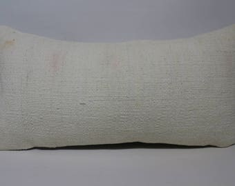 White Colors Kilim Pillow Throw Pillow 12x24 Lumbar Kilim Pillow Handwoven Kilim Pillow Ethnic Pillow Cushion Cover SP3060-1509