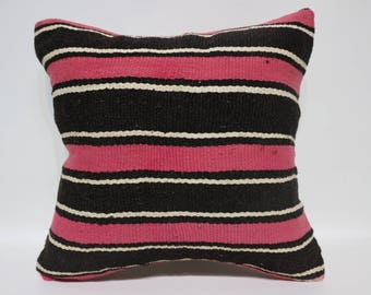 20x20 Pink And Black Striped Kilim Pillow 20x20 Decorative Kilim Pillow Ethnic Pillow Floor Pillow Cushion Cover  SP5050-2525