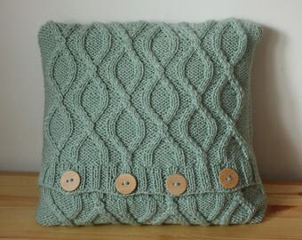 Cable sweater throw pillow, knitted pillow cover, decorative cushion