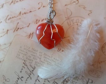 Carnelian Red Heart Pendant