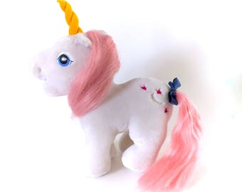 G1 My Little Pony Moondancer Unicorn Plush Hasbro Softies GORGEOUS Stuffed Animal Horse 1983 MLP 80s 1980s White Ponies Kawaii Kidcore Soft