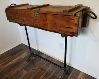 Ammunition Box Console Table / Rustic Side Table / Military Decor / Storage  Sofa Table /