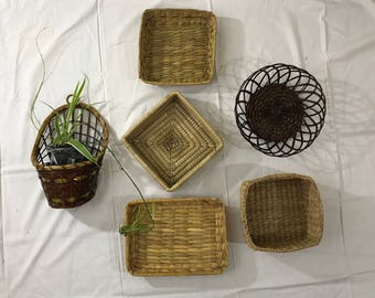 Vintage Boho Rattan Wicker Straw Wall Basket Set- Collection Gallery. Free Shipping