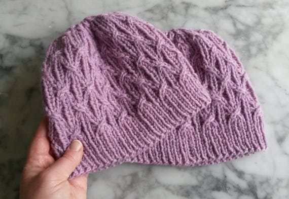 Aran knit beanie: original design. Pink wool hat. Cable knit hat. Gift for her. Handknit beanie. Made in Ireland. Christmas gift for her.