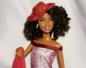 Natural hair doll with cute hat and purse