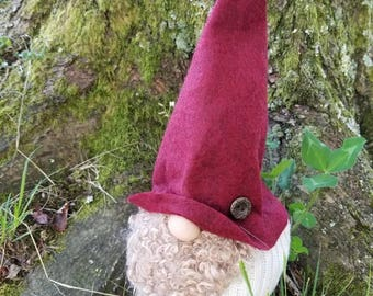 Woodland Gnome with burgundy felt hat and sweater body