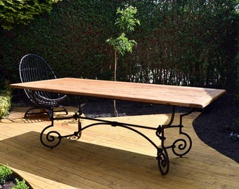 Large Stunning French Wrought Iron Farmhouse Dining Table