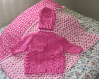 Reversible Shell Baby Afghan and Sweater Set