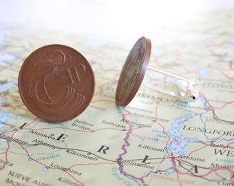 Ireland coin cufflinks - 2 different designs -  made of original coins from Ireland - Irish - Eire - Dublin - Celtic bird - bull