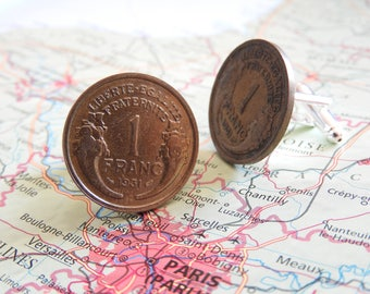 France 1931 vintage 1 Franc coin cufflinks - made of coins from France - birth year - wedding gift - groom