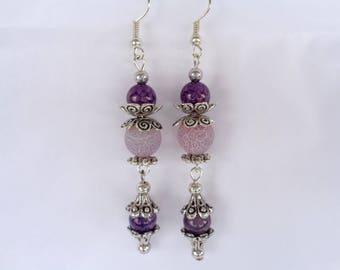 Earrings, chandelier earrings, agate earrings, purple earrings, gemstone earrings, beaded earrings, dangle earrings,  boho earrings