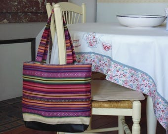 Tote colors bright patterns of South America lined gingham black and white stripes
