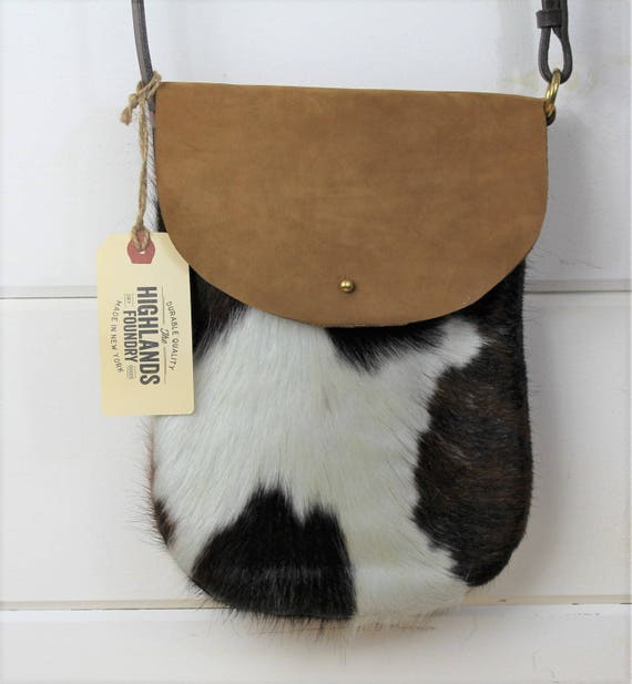 Cowhide + Leather Crossbody Bag
