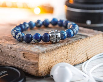 8mm - Blue regalite beaded stretchy bracelet with stainless steel end bead, blue bracelet, mens bracelet, mens beaded bracelet