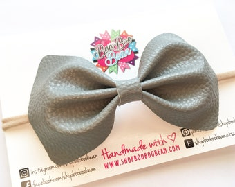 Gray Faux Leather Bow, Gray Baby Bow, Baby Bow Headband, Faux Leather Bows, Faux Leather Hair Bow, Gray Baby Headband, Baby Shower Gift