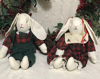 Vintage Stuffed Rabbits Wearing Christmas Outfit Easter basket Gifts  Easter Decor