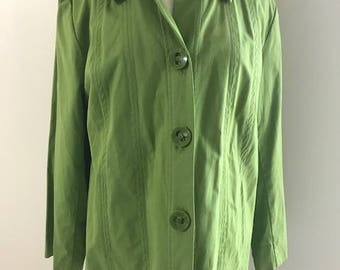 Women's Green Jacket with Big Buttons and Pockets By R.Q.T. Woman