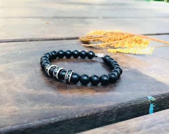 Black adjustable bracelet black beads bracelet black beaded bracelet with silver and black crystal element