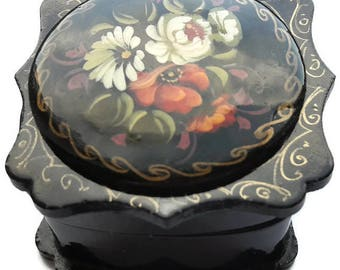 Vintage Soviet wooden jewelry box hand painted
