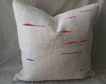 "Kilim Pillow,24""×24""İnches, White Pillow, Hemp Kilim Pillow, Cushion Cover, Throw Pillow, Kilim Pillow, Kilim Cushion, Decorative Pillow"