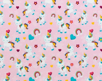 Jersey fabric with digital print of unicorn pony
