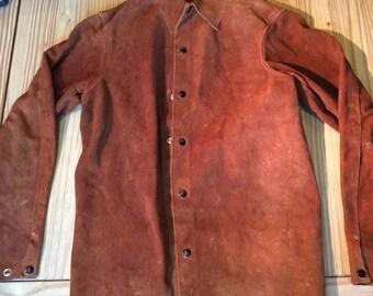Vintage primitive brown leather hippie jacket unique