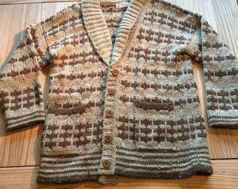 Old brown boho sweater button up